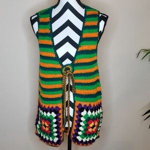 Vintage 70s Harpees crocheted vest